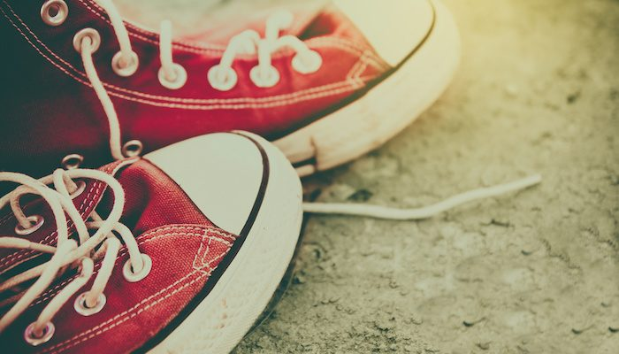 vintage retro red shoes , high-tops sneakers ,travel concept
