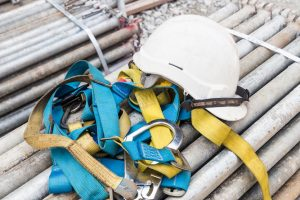 Safety helmet and harness at construction site