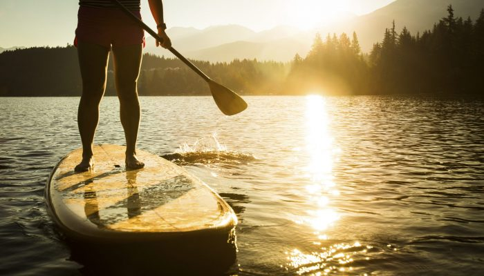 Paddleboarding on Alta Lake, Whistler.